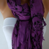 Plum Skull Scarf Eggplant Purple Cotton Scarf Shawl Cowl Scarf Gift Ideas for Her Women Fashion Accessories Christmas