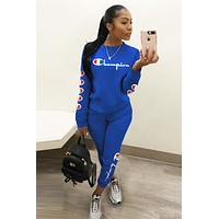 Champion Fashion Women Casual Print Top Pants Trousers Set Two-Piece Sportswear Blue