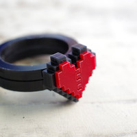 Pixel Heart Acrylic Ring Plastic for couple and gamer 8 bits design