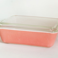 Vintage Large Pink Pyrex Refrigerator Dish with lid, Rectangular Baking Dish 503, 1 1/2 Quart