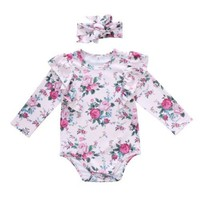 Newborn Baby Infant Girl Bodysuit Clothing Jumpsuit Flower Long Sleeve Headbands Clothes Outfits Baby Girls