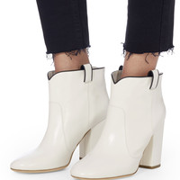 Pete White Leather Booties