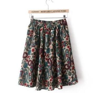 Free Shipping Hot 2016 Summer Fashion The Elastic Dot Flower Print Bohemia Pleated Skirt  For Most Countries