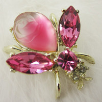 Pink Fly Pin Bee Insect Bug Brooch Molded Glass Rose Frosted Glass Figural Jewelry Vintage Costume Jewellery