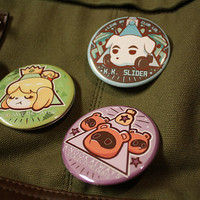 animal crossing pinback buttons