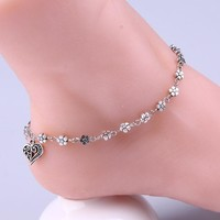 Beach Women's Anklets Bead Chain Bracelet Silver Plated For Ankle