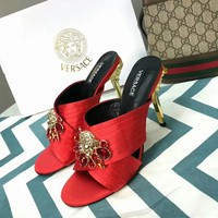Versace Women Casual Shoes Boots fashionable casual leather Women Heels Sandal Shoes created
