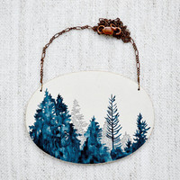 Tree Line Vignette Necklace - large hand painted blue and white wooden pendant on copper chain