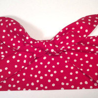 Dolly Headband, Dolly Bow, Tie-Up Hairband, 100% Cotton, Red and White - READY TO SHIP!