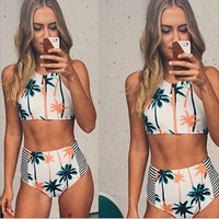 New Print Palm Tree Women Bikini High Neck Tank Zipper Swimsuit Swimwear = 1945951620