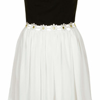 **BLACK AND WHITE STRAPLESS EMBELLISHED WAIST DRESS BY RARE