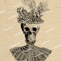 Steampunk Gothic Style Skull Wearing Victorian Hat Feathers Blouse Halloween Image Transfer Digital Download Printable Graphic
