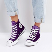 Converse Chuck Taylor High Trainers In Purple Velvet at asos.com
