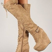 Qupid Stuck Up 4 Beige Lace Up Buckle Detail Wedge Thigh High Boots Sizes 6 - 10