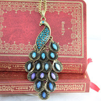 Long necklace with precious stones peacock by BeautyandLuck