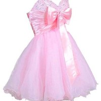 Faironly Mini Short Dress for Cocktail or Homecoming Prom (XS, Pink)