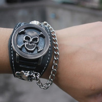 Black Bronze Punk Rock Chain Skull Leather Strap Watch Unisex Bracelet Cuff Gothic Wrist Watches = 1956920964