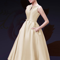 Beige Plunge Neck Bowknot Waist Lacing Back Midi Prom Dress