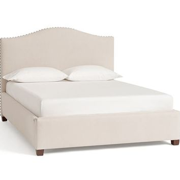 Raleigh Upholstered Camelback Low Bed & Headboard
