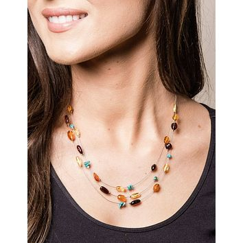 Airy Amber and Turquoise Necklace