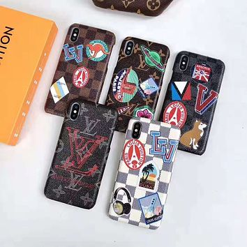 LV tide brand new classic old flower iPhone8plus mobile phone case cover