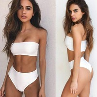 Sexy pure white wrap chest off shoulder two piece bikini swimsuit for 4 color