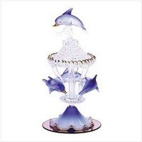 Gifts & Decor Spun Glass Dolphin Carousel Mirrored Base Figurine