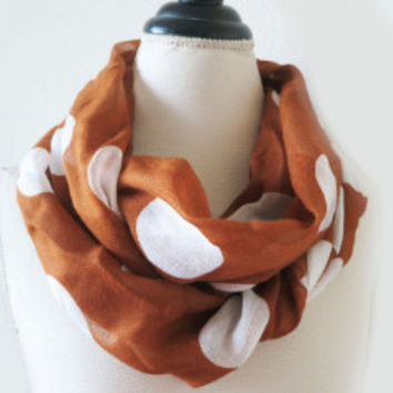 Fashion Infinity Scarf, Polka Dot Scarves Golden and Ivory, Soft