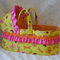 Unique Easter Basket Idea! Colorful Doll Bed, Moses Basket for Dolls Like Bitty Baby, Baby Alive, Cabbage Patch, American Girl and More