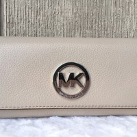 NEW-AU Michael Kors Fulton Carryall Leather Trifold Wallet CEMENT SILVER $148+