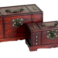 Vintiquewise(TM) Antique Old Wooden Trunk/Treasure Chest, Set of 2