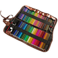 72 Premium Art Watercolors Colored Pencils Set For Sketch Artists With Roll-up Canvas Pencil Case