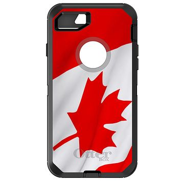 DistinctInk™ OtterBox Defender Series Case for Apple iPhone / Samsung Galaxy / Google Pixel - Red White Canadian Flag Canada