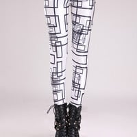 Black and White Striped Print Leggings