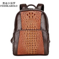 Men Leather Backpack Men Large Capacity Rucksack Shoulder School Bag 3D Crocodile Male Back Pack Mochila Escolar