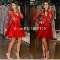 2017 Long Sleeves Lace Cocktail Dresses Short Red Vestido De Festa Sexy V-Neck Appliques Evening Gowns Party Prom Dress