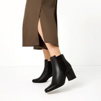 ELASTICATED HIGH HEEL LEATHER ANKLE BOOTS - NEW IN-WOMAN   ZARA United Kingdom