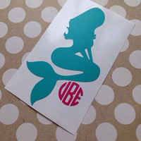 Mermaid Monogram Decal | Monogrammed Mermaid | Mermaid Car Decal | Personalized Mermaid Car Decal | Car Decal | Custom Mermaid Decal |