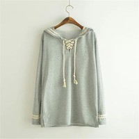 2017 New Fashion Spring Autumn Japanese Style Cute Sailor Collar Long Sleeve Female Sailor Pullover Hoodies Lady Tops SS144