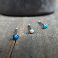 """Tiny Opal Nose Ring Screw 18g Bone Stud Tragus Piercing Blue 1/4"""" Gem 2mm White Green Opals Earring Top Dainty Body Jewelry Stainless Small 