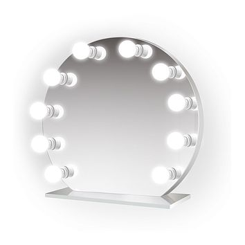 """Iris 28""""x25"""" Curved Lighted Glam Vanity Mirror 