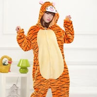2016 Cute Autumn and Winter Flannel Cartoon animals Tigger Pajamas for Women adult Long Sleeve Pajama sets