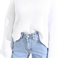 Ribbed Knit Flare Sleeve Pullover Sweater