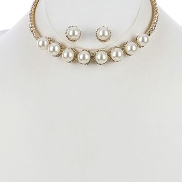 """10"""" crystal white faux pearl choker collar necklace .50"""" earrings bridal"""