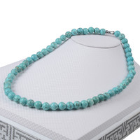 8MM Natural Stone Rosary Necklace Turquoise Tiger Eye Amethyst Buddha Beaded Necklace Semi Precious Chocker Necklace Women Men