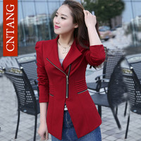 Women Coat New 2016 Spring Autumn Women's Casual Suit Jackets Women Asymmetrical Collar Suit Jacket Zipper Ladies Slim Blazer