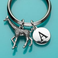 Giraffe Keychain, Giraffe Key Ring, Jungle Animal Charm, Initial Keychain, Personalized Keychain, Custom Keychain, Charm Keychain, 157