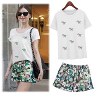 White Pony Print T-Shirt and Floral Print Shorts