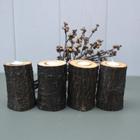 Set of 24 Rustic Wood Candle Holder 4 inches by BackYardRusticWood