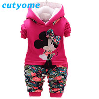 Winter Kids Boutique Cotton Clothing Set Toddler Baby Boys Girls 2PCS Hooded Coat+Casual Pant Outwear Cartoon Mickey Clothes